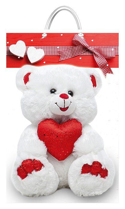 """Подарочный пакет картонный  """"БОЛЬШОЙ ВЕРТИКАЛЬНЫЙ"""" 17 """"Медведь и сердце"""" (25х37х8)"""