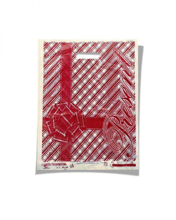 """Пакет с прорезной ручкой тип мини """"Бантик"""" красный (20х30) 100 шт"""