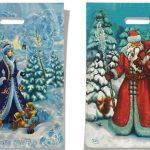 """Пакет с прорезной ручкой двухсторонний """"Дед Мороз и Снегурочка"""" (25х35) 25 шт"""