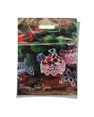 """Пакет с прорезной ручкой  """"Happy New Year"""" (34х45) 50 шт"""