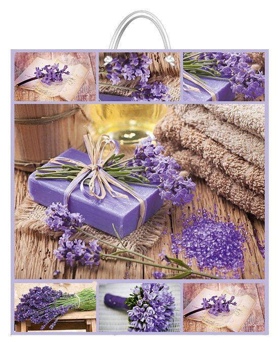"""Подарочный пакет картонный """"СУПЕР"""" 03 """"Фиолетовые цветы и подарок"""" (47х52х20)"""