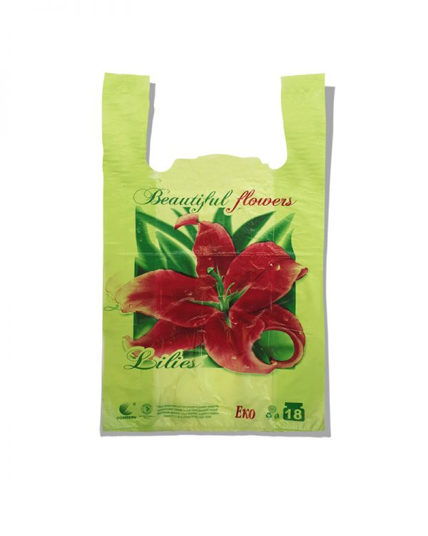 "Пакет-майка Эко ""Lilies"" Comserv зеленый 18 кг (28×46) 250 шт"