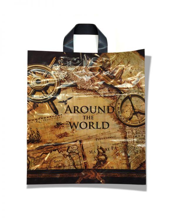 """Пакет с петлевой ручкой тип """"Диор"""" """"Around the World"""" (37х43)  25 шт"""