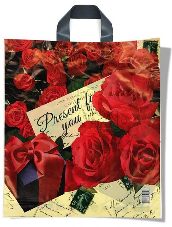 """Пакет с петлевой ручкой тип """"Диор"""" """"Розы"""" """"Present for you"""" (37х43) 25 шт"""