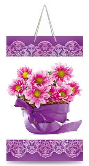 """Подарочный пакет картонный """"МАЛЫЙ"""" 05 """"Цветы"""" (11х18х5)"""