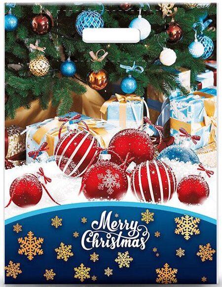 """Пакет с прорезной ручкой """"Merry Christmas 3"""" ламинированный (30х39) 25 шт"""