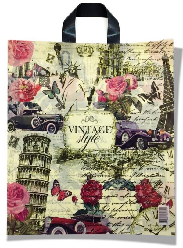 Пакет с петлевой ручкой тип «Диор» «Vintage style» (37*43) 25 шт