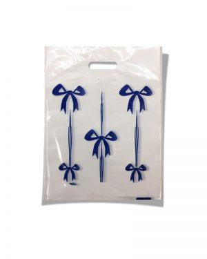 Пакет с прорезной ручкой тип мини «Бантики» синий (20*30) 100 шт