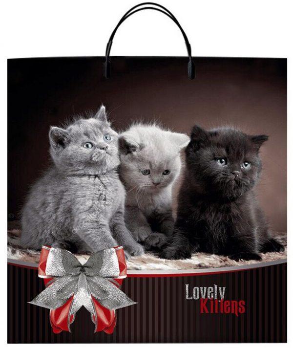 Пакет на пластиковой ручке «Lovely kittens» (40*40) 10 шт