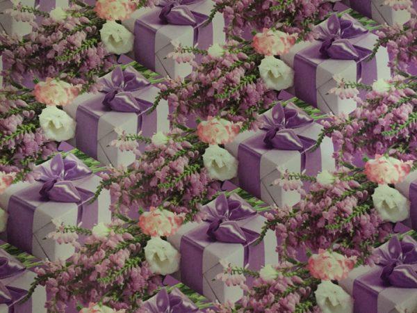 """Бумага Подарочная 23 """"Цветы и сиреневый подарок"""" (70х100)"""
