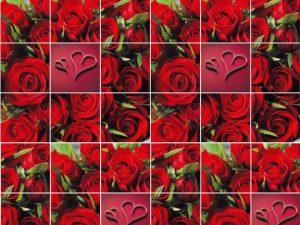 """Бумага Подарочная 45 """"Красные розы и сердце"""" (70х100)"""