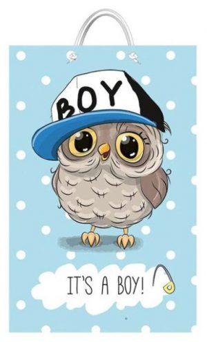 """Подарочный пакет картонный """"БОЛЬШОЙ ВЕРТИКАЛЬНЫЙ"""" 10 """"It's a boy"""" (25х37х8)"""