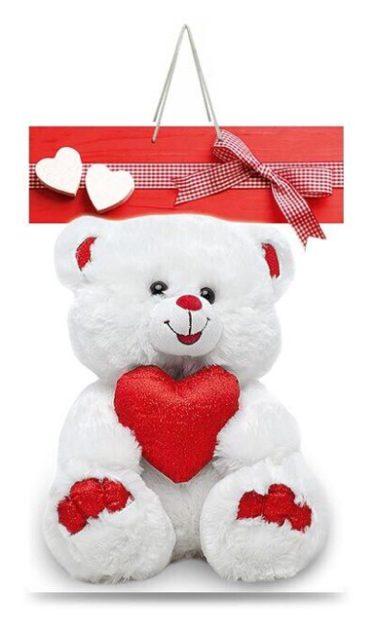 """Подарочный пакет картонный """"ГИГАНТ ВЕРТИКАЛЬНЫЙ"""" 01 """"Медведь и сердце"""" (30х47х12)"""