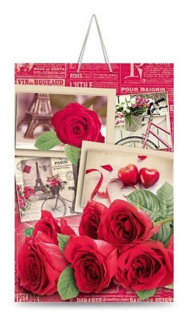 """Подарочный пакет картонный """"ГИГАНТ ВЕРТИКАЛЬНЫЙ"""" 05 Розы (30х47х12)"""