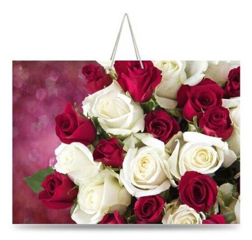 """Подарочный пакет картонный """"ГИГАНТ ГОРИЗОНТАЛЬНЫЙ"""" 01 """"Бело-алые розы"""" (46х33х15)"""