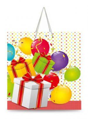 """Подарочный пакет картонный """"КВАДРАТ"""" 02 """"Воздушные шары"""" (23х24х10)"""