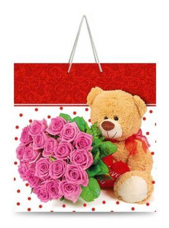 """Подарочный пакет картонный """"КВАДРАТ"""" 03 """"Медвежонок с букетом роз"""" (23х24х10)"""