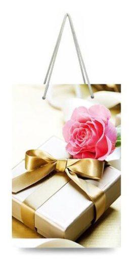 """Подарочный пакет картонный """"МИНИ"""" 02 """"Роза и подарок"""" (8х12х3.5)"""