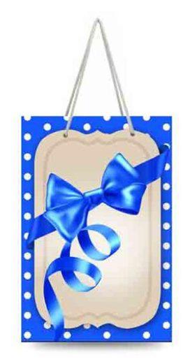 "Подарочный пакет картонный ""МИНИ"" 08 ""Синий бантик"" (8х12х3.5)"