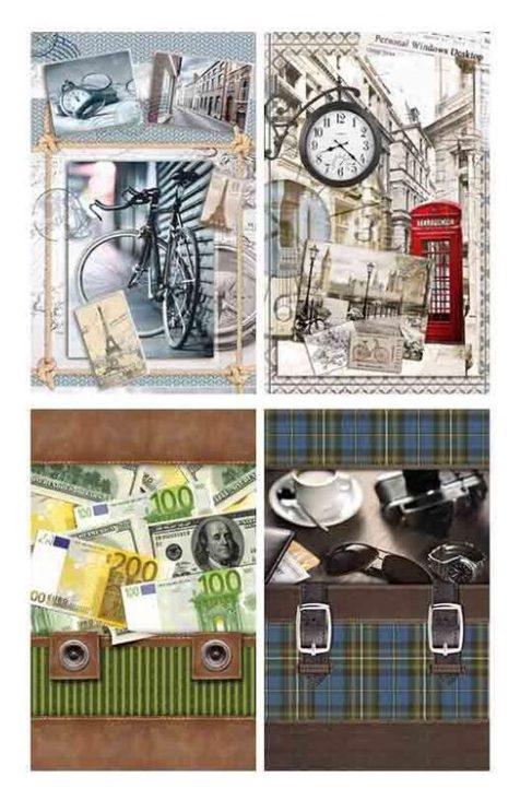"""Подарочный пакет картонный """"СРЕДНИЙ"""" 06 """"4 дизайна в упаковке"""" (17х26х8)"""
