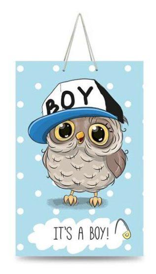 "Подарочный пакет картонный ""СРЕДНИЙ"" 04 ""It's a boy"" (17х26х8)"