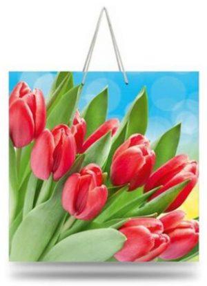 "Подарочный пакет картонный ""ЧАШКА"" 01 ""Красные тюльпаны"" (16х16х8)"