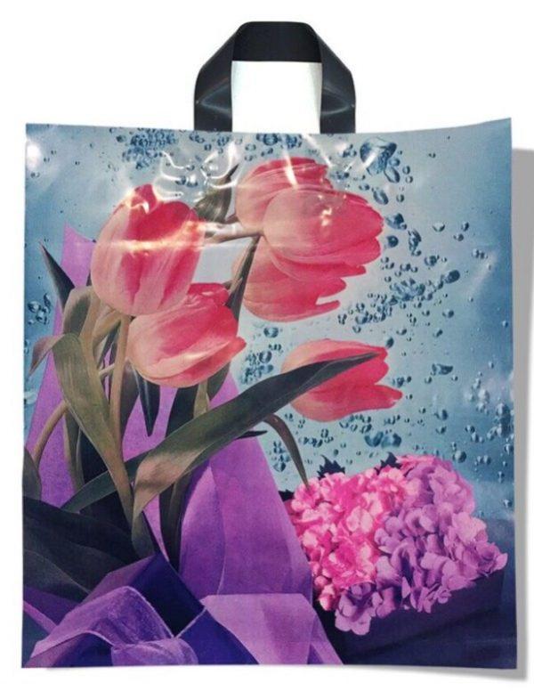 Пакет с петлевой ручкой средний «Tulips» (40*45) 25 шт.