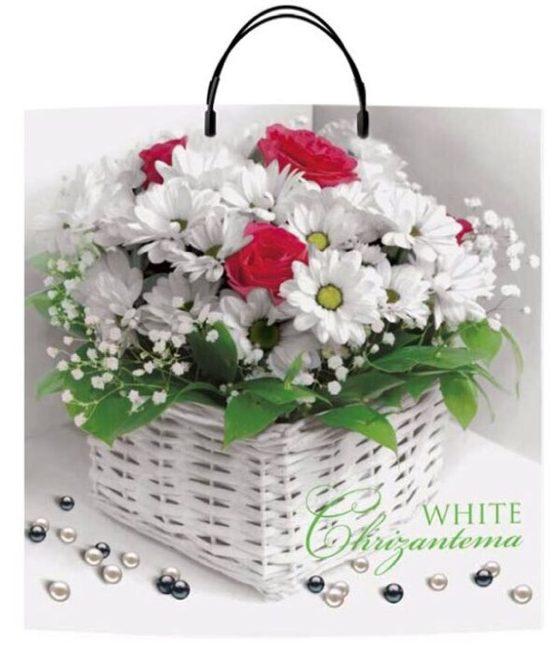 Пакет на пластиковой ручке «White Chrizantema» (40*40) 10 шт