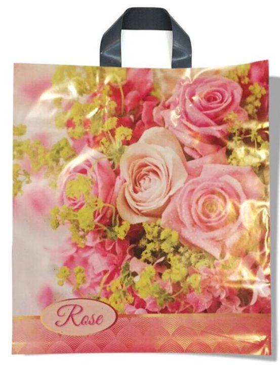 Пакет с петлевой ручкой тип «Диор» «Rose» (37*41) 25 шт