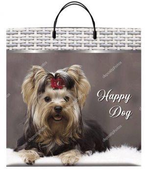 Пакет на пластиковой ручке «Happy Dog» (40*40) 10 шт.
