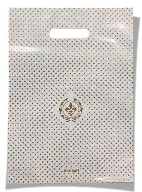 Пакет с прорезной ручкой тип «Serikoff» белый глянцевый (30*40) 25 шт.