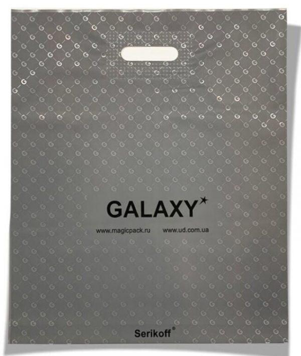 Пакет с прорезной ручкой тип «Serikoff» «Galaxy» серый (45*54) 25 шт.