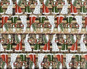 """Бумага Подарочная новогодняя 03 """"Дед мороз разноцветный"""" (70х100)"""
