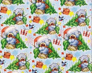 """Бумага Подарочная новогодняя 05 """"Медведь и елка"""" (70х100)"""