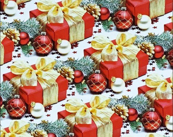 """Бумага Подарочная новогодняя 14 """"Игрушки на ёлку и красный подарок"""" (70х100)"""