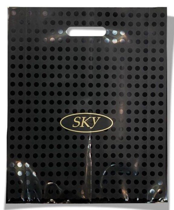 Пакет с прорезной ручкой тип «Serikoff» «Sky» чёрный (40*50) супер плотный с боковыми фальцами 25 шт