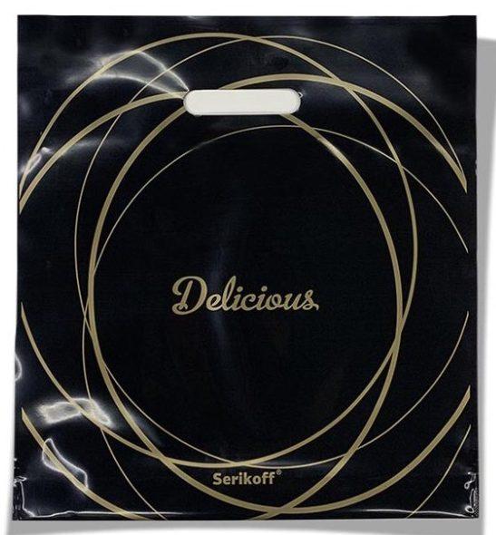 Пакет с прорезной ручкой тип «Serikoff» чёрный «Delicious» (35*38) 25 шт
