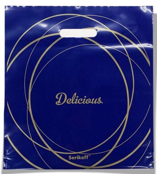Пакет с прорезной ручкой тип «Serikoff» синий «Delicious» (35*38) 25 шт
