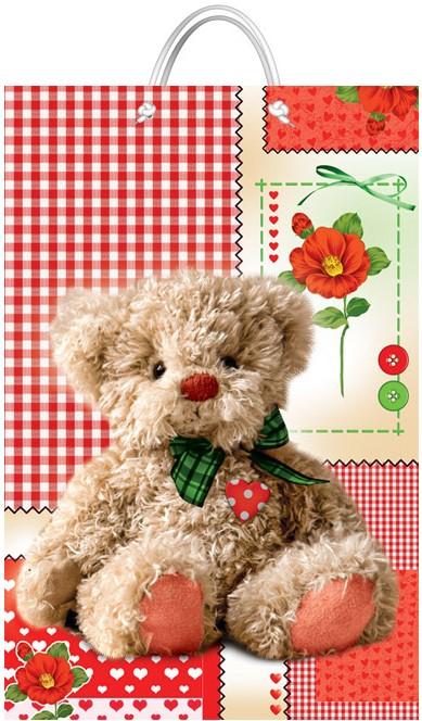 """Подарочный пакет картонный """"БОЛЬШОЙ ВЕРТИКАЛЬНЫЙ"""" 44 """"Плюшевый медведь"""" (25х37х8)"""