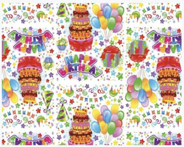 """Бумага Подарочная 55 """"Happy birth day"""" (70х100)"""