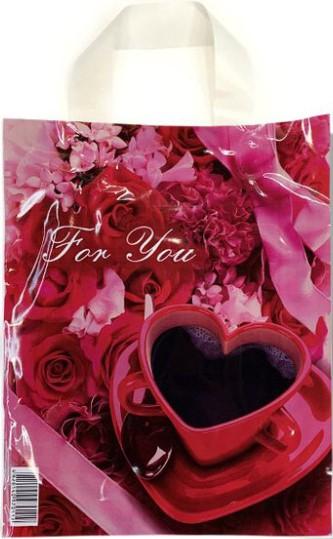 Пакет с петлевой ручкой маленький ламинированный «For You» (23*29) 25 шт