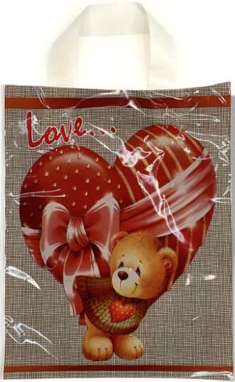 Пакет с петлевой ручкой маленький ламинированный «Love…» (23*29) 25 шт