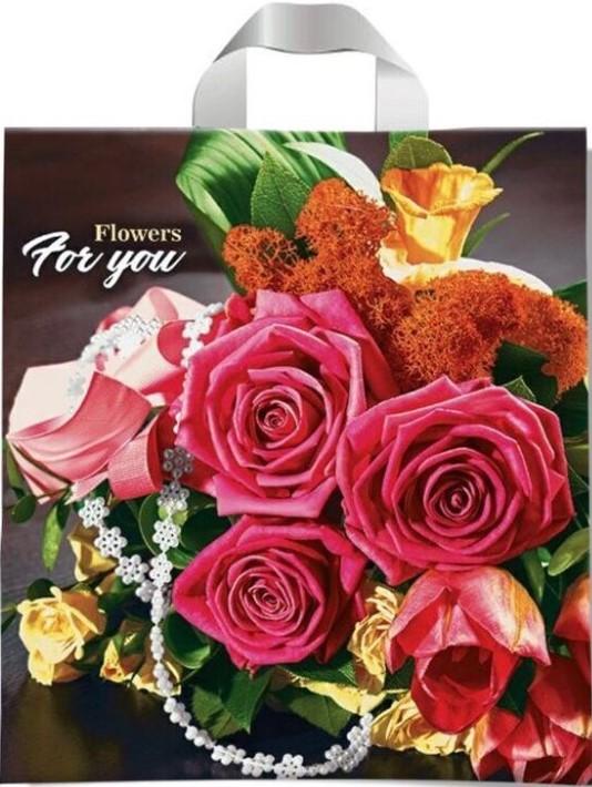 Пакет с петлевой ручкой тип «Диор» «Flowers For You» (37*41) 25 шт