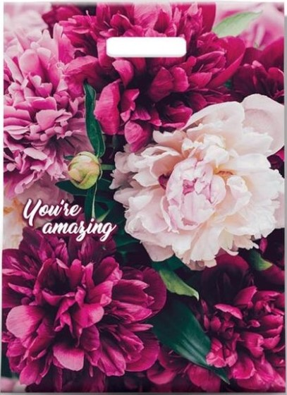 Пакет с прорезной ручкой «You're Amazing» ламинированный (30*39) 25 шт