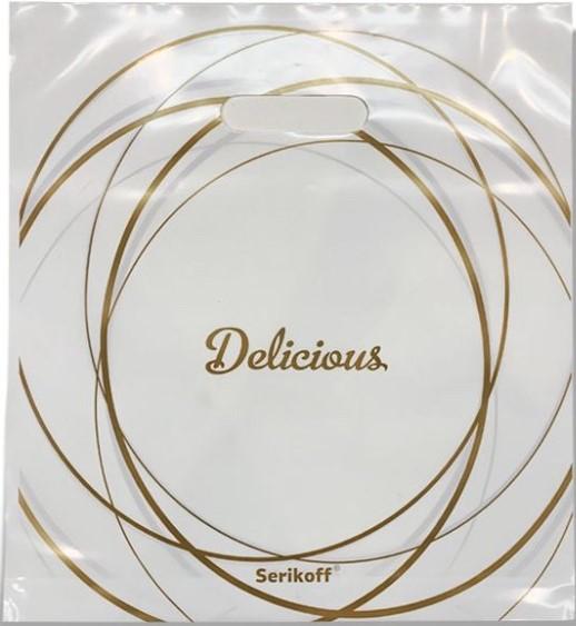 Пакет с прорезной ручкой тип «Serikoff» белый «Delicious» (35*38) 25 шт