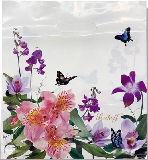 Пакет с прорезной ручкой тип «Serikoff» «Бабочки и Цветы» (35*38) 25 шт