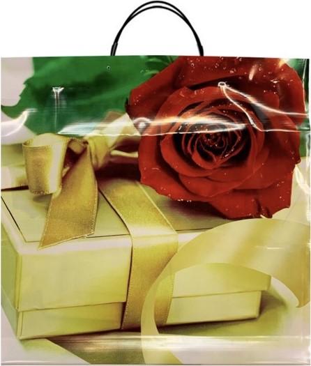 Пакет на пластиковой ручке «Роза с Подарком» (36*37) 10 шт