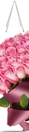 "Подарочный пакет картонный ""БУТЫЛОЧНЫЙ"" 28 ""Розовые розы"" (12х36х9)"