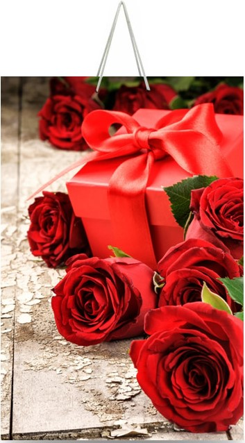 """Подарочный пакет картонный """"ГИГАНТ ВЕРТИКАЛЬНЫЙ"""" 18 """"Розы и подарок"""" (30х47х12)"""