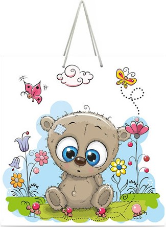 "Подарочный пакет картонный ""КВАДРАТ"" 69 ""Медвежонок"" (23х24х10)"